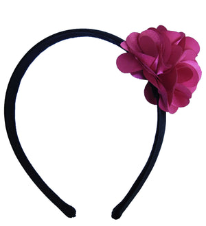 Fuchsia Flower on Blk Satin hair bands for girls
