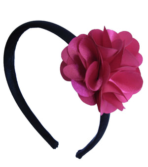 Fuchsia Flower on Blk Satin Hair Band for Kids