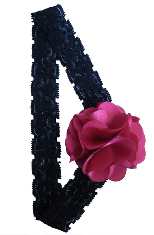 Fuchsia Flower on Blk Lace hair bands for girls