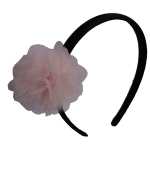 Pink Net flower on Black Satin Hair Band for Kids