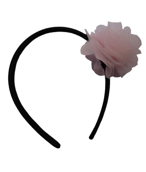 Pink Net flower on Black Satin hair bands for girls