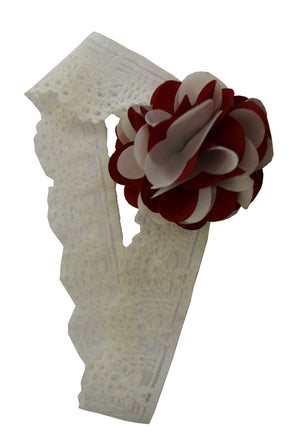 Maroon&Ivory flower on Ivory Lace hair bands for girls
