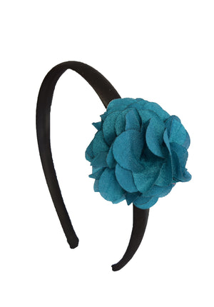 Teal Green flower on Black Satin hair bands for girls