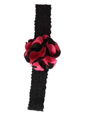 Fuchsia & Black Flower on Black Lace hair bands for girls