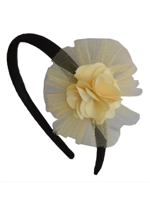 Gold Flower and Gold Net on Black Satin hair bands for girls