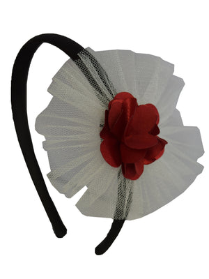Maroon Flower and Ivory Net on Black Satin Hair Band for Kids