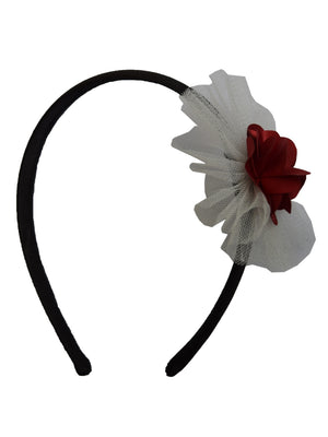 Maroon Flower and Ivory Net on Black Satin hair bands for girls