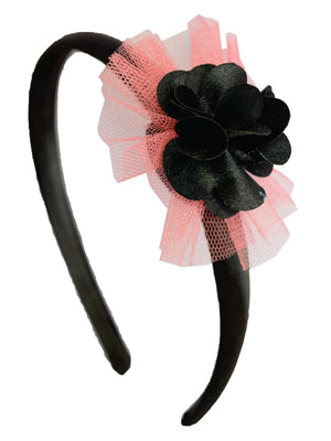 Black Flower and Mauve Net on Black Satin Hair Band for Kids