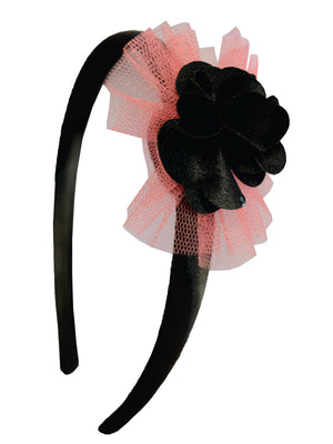 Black Flower and Mauve Net on Black Satin hair bands for girls