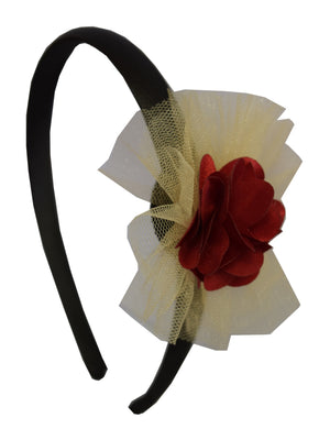 Maroon Flower and Gold Net on Black Satin hair bands for girls