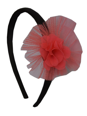 Coral Flower and Coral Net on Black Satin Hair Band for Kids