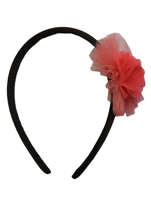 Coral Flower and Coral Net on Black Satin hair bands for girls