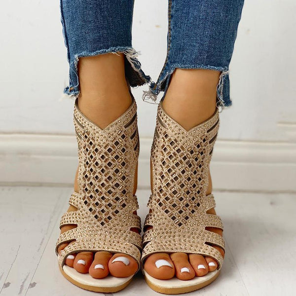 Twinklemoda Studded Hollow Out Flat Sandals