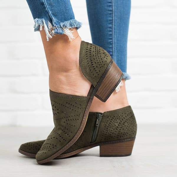 Twinklemoda Hollow Low Heel Cutout Booties