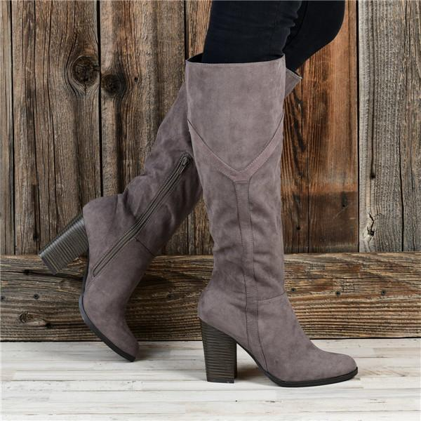 Twinklemoda Women's Chunky Heel Knee High Boots