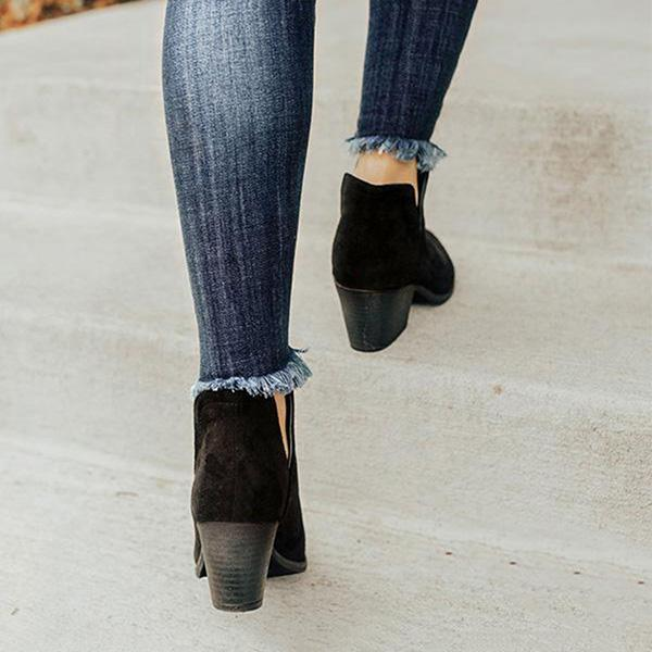 Twinklemoda Cut Out Booties Ankle Heels Boots