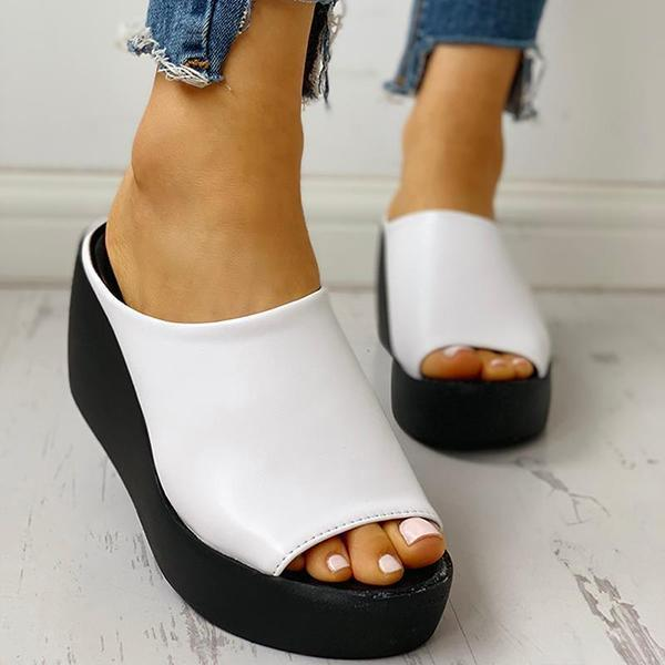 Twinklemoda Peep Toe Muffin Wedge Slippers