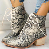 Twinklemoda Pointed Toe Lace-up Snakeskin Chunky Heeled Boots