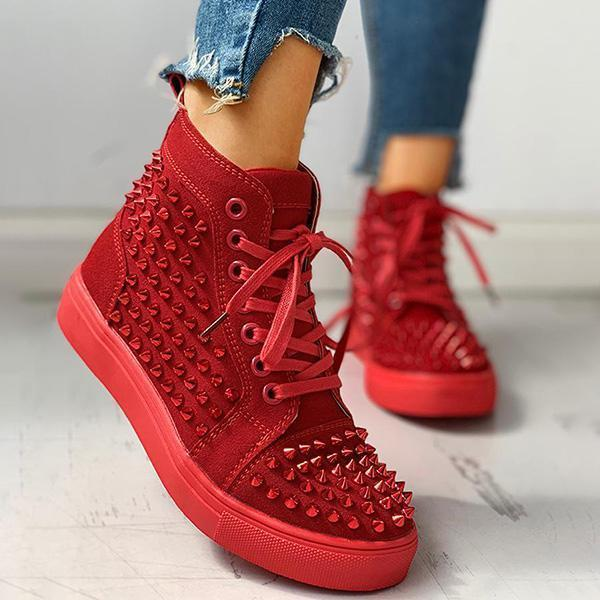 Twinklemoda Solid Studded Eyelet Lace-Up Casual Sneakers