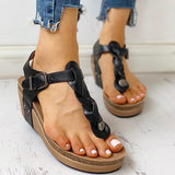Twinklemoda Rivet Design Toe Post Wedge Sandals