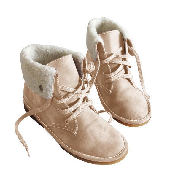 Twinklemoda Winter Warm Suede Lace Boots