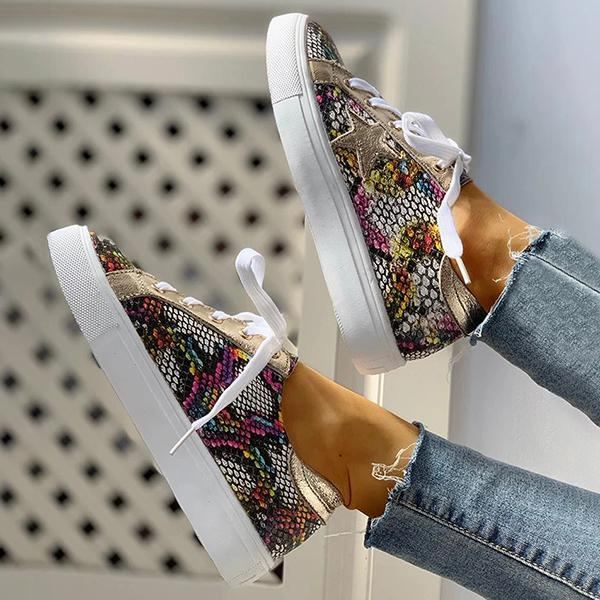Twinklemoda Lace-Up Star Pattern Casual Sneakers