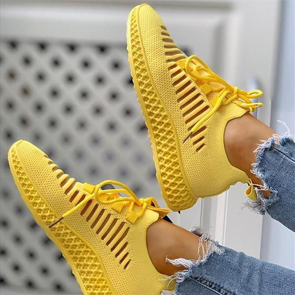 Twinklemoda Women's Net Surface Breathable Lace-Up Hollow Out Sneakers