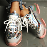 Twinklemoda Glitter Colirblock Breathable Lace-Up Sneakers