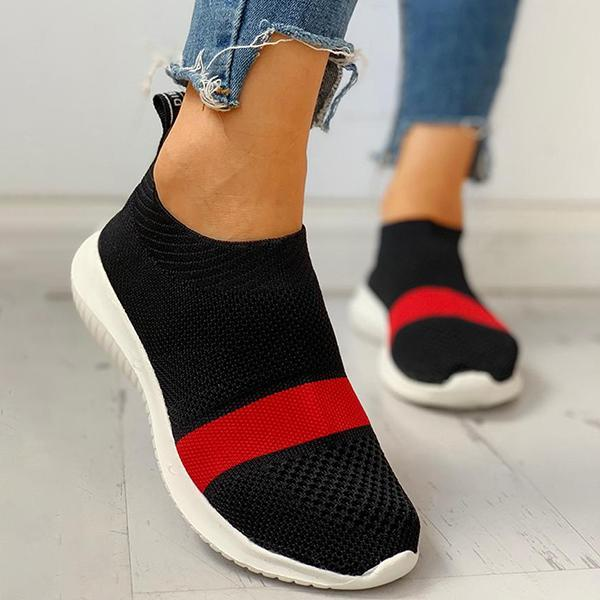 Twinklemoda Fabric Colorblock Breathable Casual Flat Sneakers