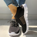 Twinklemoda Solid Knitted Breathable Lace-Up Striped Sneakers