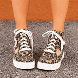 Twinklemoda Leopard Side Cutout High-Top Lace-Up Sneakers