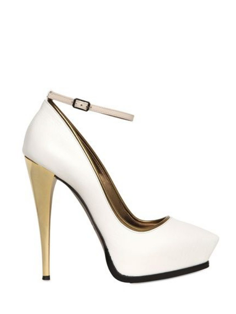 Lanvin White and Gold Pumps Size 40
