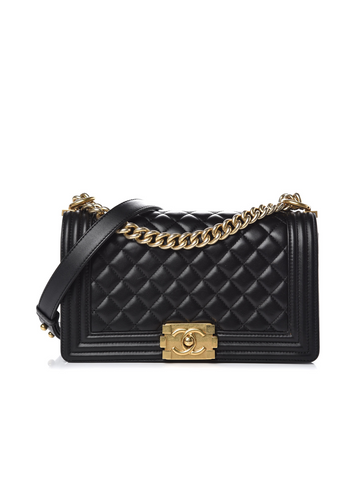 Chanel Boy Medium Shoulder Bag - Black and Gold