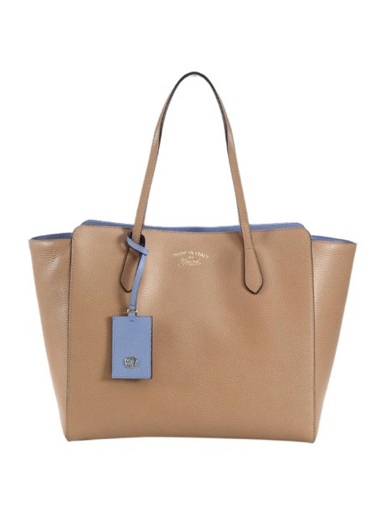 Gucci Swing Tote Large - Beige and Light Blue