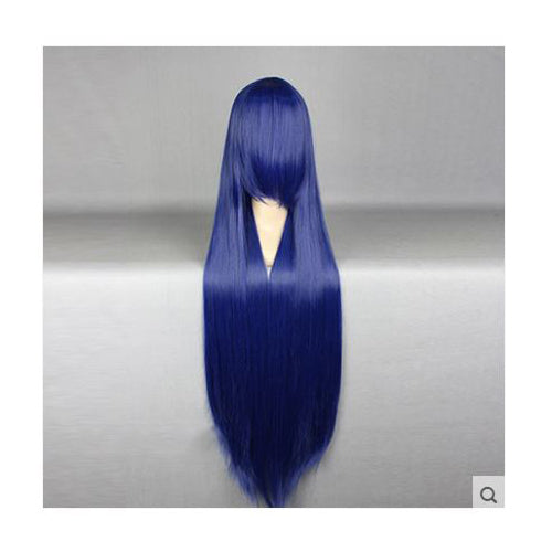 100 cm Long Navy Blue Cosplay Wig