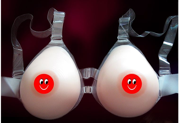 Imitation Skin Silicone Individual Water Drop Strap On Breast Forms (DD - F CUP)