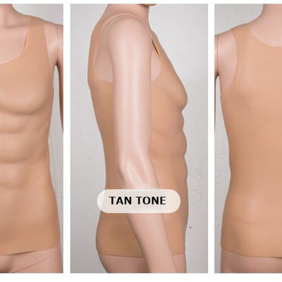 Imitation Skin Silicone Molded Male Chest and Abdominal Muscle Shirt (3 sizes)