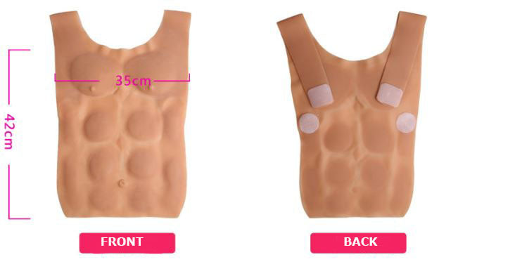Imitation Skin Silicone Molded Male Chest and Abdominal Muscle Breast Plate