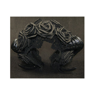 Black Horn and Rose Gothic Lolita Headdress Cosplay
