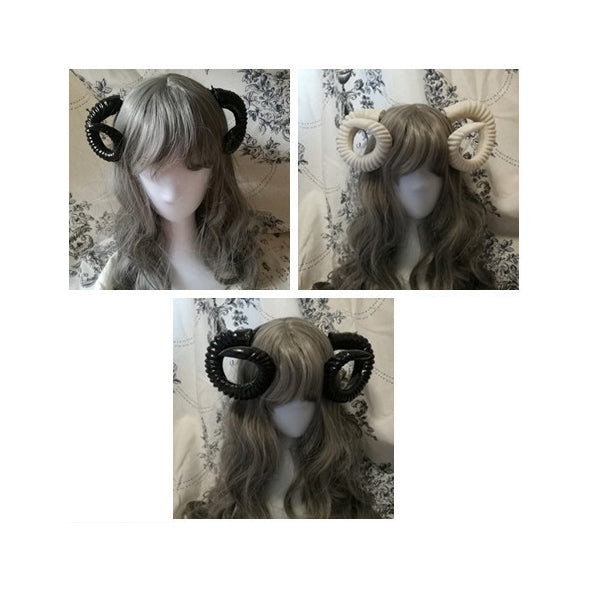 Cosplay BLACK AND WHITE CLIP-IN RAM HORNS (Large and Small)