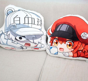 Cells At Work Double-Sided Plush Pillows (Red Blood Cell, Platelet, and White Blood Cell)