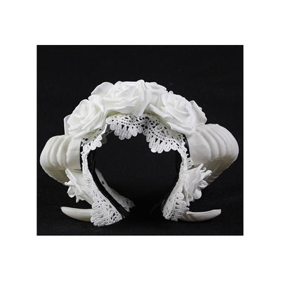 White Horn and Rose Gothic Lolita Headdress Cosplay