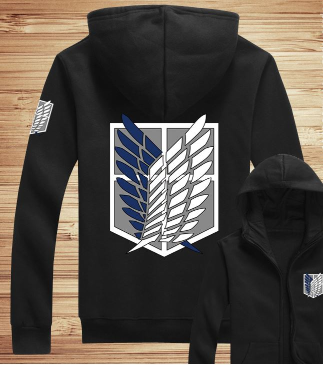 Attack on Titan Survey Corps Black Zip-Up Hoodie