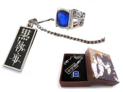 Black Butler Ciel Ring Necklace Set