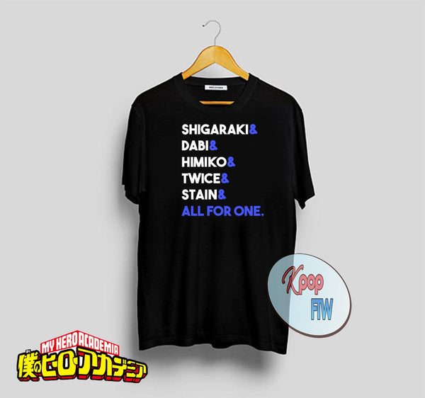 Boku no Hero Academia Shirt//My Hero Academia//BNHA// MHA Shirt//All For One Himiko Dabi Stain Twice Shigaraki//Anime Manga