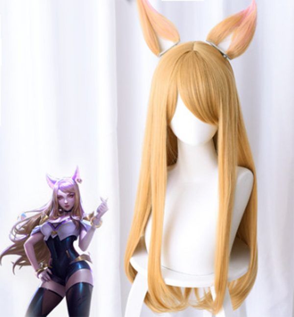 League of Legends KDA POPSTARS Ahri Cosplay Wig (Includes Ears)