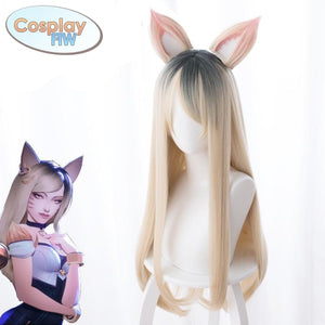 League Of Legends K/d Kda Ahri Cosplay Wig