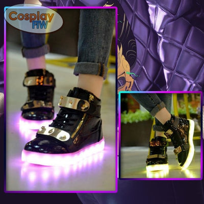 League Of Legends Kda Akali Cosplay Shoes / Waterproof Led Shoes 36 Black