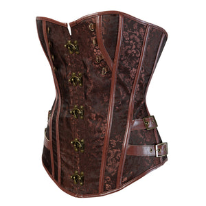 ERQI Steampunk Jacquard Lace Up Boned Overbust Corset