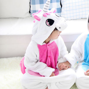 Children's White and Pink Unicorn Kigurumi